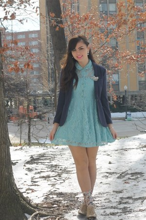 blue H&amp;M blazer - sky blue Forever21 dress