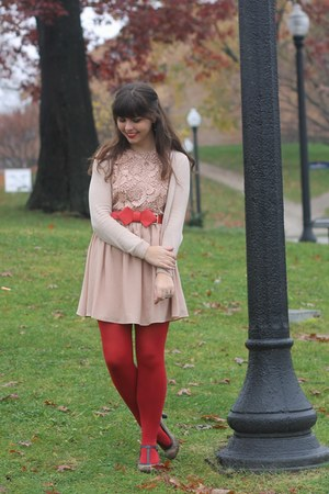 light pink Fleet Collection dress - beige H&amp;M cardigan - red OASAP belt