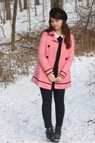 bubble gum kohls coat - black H&M boots - black Forever21 pants