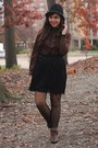 Dark-brown-thrifted-boots-black-target-hat-black-forever21-skirt