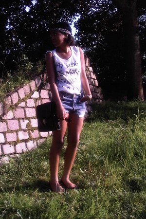 periwinkle scarf - black H&M bag - blue studded DIY shorts - black flats - white