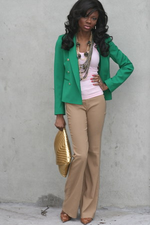 Aldo shoes - Zara blazer - gold clutch asos bag - camel Zara pants