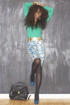 green Zara sweater - floral print asos skirt - gold Forever 21 belt