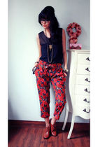 black Riotous top - red Riotous pants - brown belle shoes
