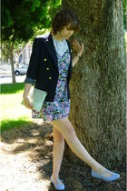 navy vintage blazer - t-strap flats Kimchi Blue shoes - vintage dress