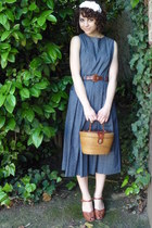 backless midi vintage dress - basket vintage purse - brown leather vintage belt