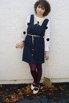 polka dot H&M sweater - navy jumper vintage dress - tapestry vintage purse
