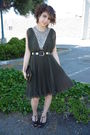 Green-vintage-dress-black-vintage-belt-black-shoes-black-armani