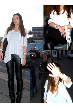 leather pants pants - guess jacket - glam rock watch