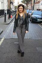 black Miss Selfridge jacket - charcoal gray dress