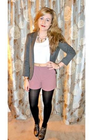 blazer - Urban Outfitters shorts - top - necklace - Kurt Geiger wedges