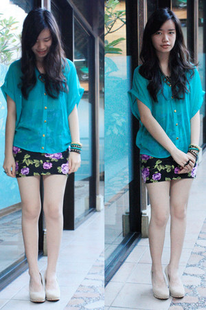turquoise blue Forever 21 shirt - black Forever 21 skirt