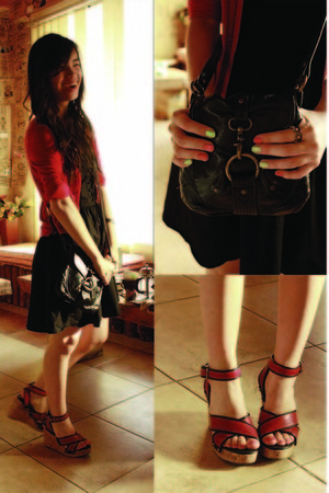 black cotton on dress - black Forever 21 bag - red Esprit cardigan