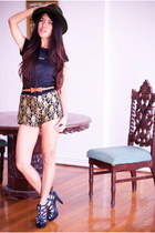 Foreve 21 hat - Bazaar shorts - So FAB heels - Mango t-shirt