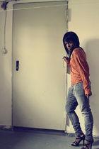orange Vero Moda top - black Jimmy Choo shoes - silver Only pants