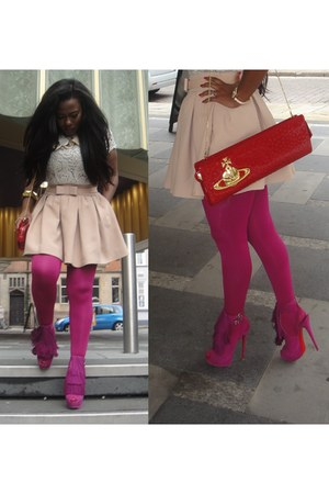 red vivienne westwood bag - magenta Christian Louboutin shoes