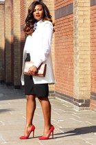 white Zara shirt - ruby red Christian Louboutin shoes