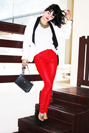 red c&amp;a pants - white Zara blazer - black Victor Hugo bag