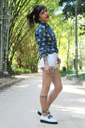 white Melissa shoes - blue print Choies shirt - white ripped zimpy shorts