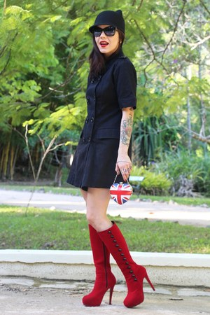 black c&a coat - red Lovelyshoes boots - black Zara hat - blue Rocket Queen bag