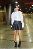black leather c&a skirt - black leather Renner boots - white Madame MS blouse