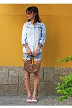 brown Victor Hugo bag - blue Zara shorts - brown Chilli Beans glasses