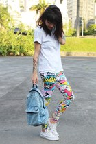 red Ethus leggings - sky blue jeans c&a bag - white Converse sneakers