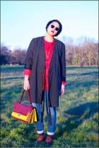 gray maison martin margiela coat - brown Pons Quintana boots - blue Zara jeans