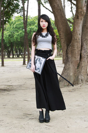 black WINDOW BAG bag - black JENN LEE pants - black morrstories necklace