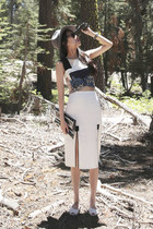 black WINDOW BAG bag - silver Urban Outfitters hat - white Fabitoria top