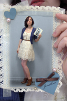 white Forever 21 dress - blue Forever 21 cardigan - brown Forever 21 boots - bro