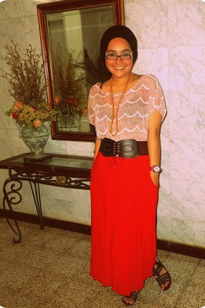 red vintage skirt - coral Robin K blouse - black belt