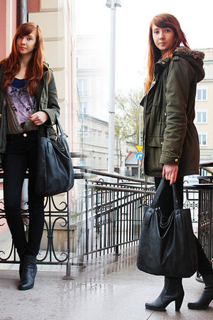 dark green Bershka jacket - black CCC shoes - black second hand bag