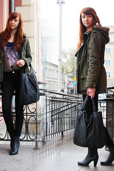 dark green Bershka jacket - black CCC shoes - black second hand bag