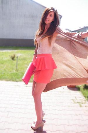 hot pink Skirt skirt - dark khaki Sweater sweater - cream Blouse blouse
