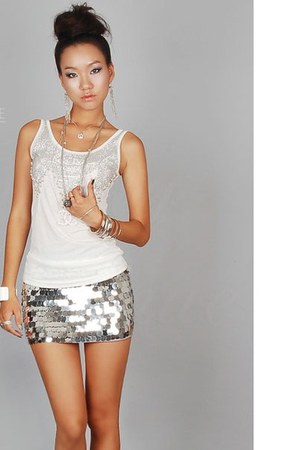 silver silver sequins Special Little Touch skirt