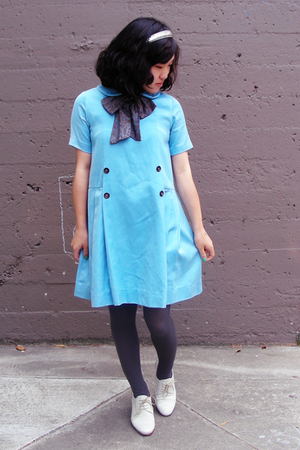 white Rachel Comey shoes - blue vintage dress - gray random from macys tights
