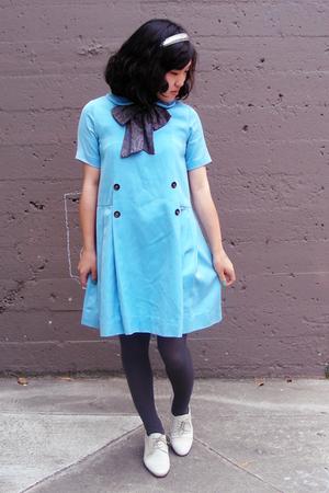 white Rachel Comey shoes - blue vintage dress - gray random from macys tights