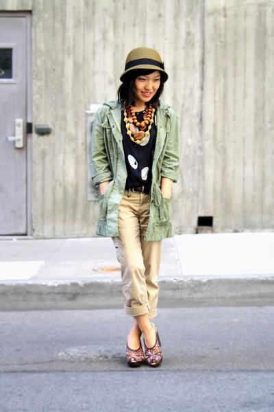brown UO hat - brown Pink Studio shoes - green J Crew jacket