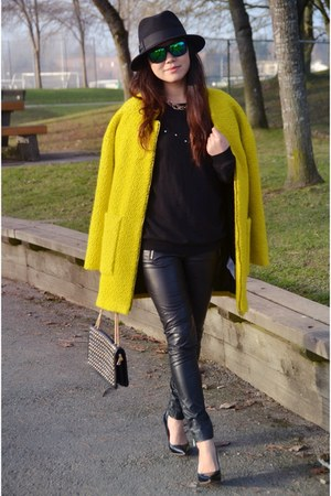 yellow Zara coat - black faux leather Forever 21 pants