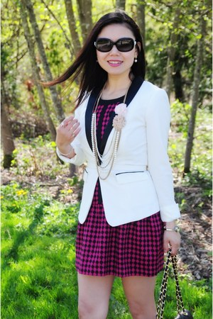 white Forever 21 blazer - hot pink tweed Zara dress