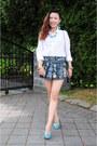Navy-skirt-white-cotton-shirt-h-m-shirt