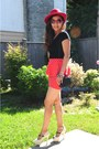 Black-misssixty-top-red-forever21-skirt-off-white-patent-heels-guess-heels