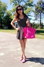 Black-dress-hot-pink-celine-bag-hot-pink-h-m-pumps