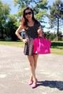 Black-dress-hot-pink-celine-bag-hot-pink-h-m-pumps