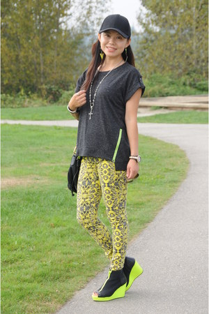 yellow Forever 21 pants - black hm hat - chartreuse hm wedges
