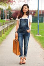Blue-overalls-blue-spice-jeans-blue-striped-h-m-blazer-brown-chloe-bag