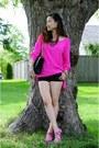 Black-stretchy-shorts-bebe-shorts-hot-pink-silk-blouse-top