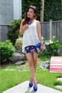 White-forever21-top-forever21-skirt-blue-steve-madden-pumps