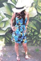 blue le chateau dress - black Aldo shoes - beige Forever 21 hat - black asos nec